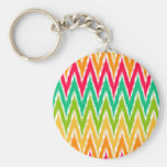 Orange Teal Ikat Chevron Zig Zag Stripes Pattern Basic Round Button Keychain