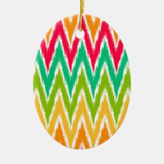 Orange Teal Ikat Chevron Zig Zag Stripes Pattern Ornament