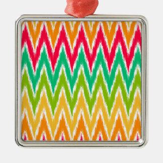 Orange Teal Ikat Chevron Zig Zag Stripes Pattern Christmas Ornaments