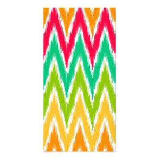 Orange Teal Ikat Chevron Zig Zag Stripes Pattern Photo Card