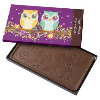 Orange & Teal Owls - Custom Message 2 Pound Milk Chocolate Bar Box
