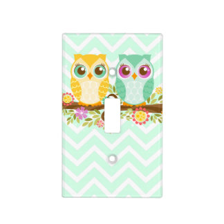 Orange & Teal Owls Light Switch Cover