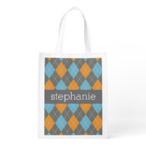 Orange & Teal Preppy Argyle Plaid Pattern Grocery Bag