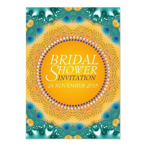 Orange Teal Satin Sparkle Bridal Shower Invites