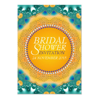 "Orange Teal Satin Sparkle Bridal Shower Invites 5"" X 7"" Invitation Card"