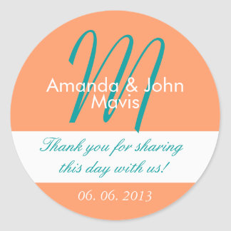 Orange Teal Simple Initial Wedding Favor Thank You Classic Round Sticker