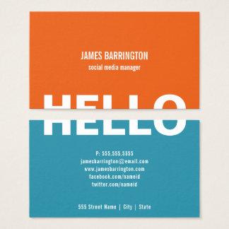 orange teal split hello business cards
