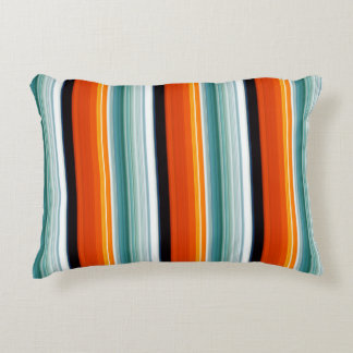 Orange Teal Striped Accent Pillow