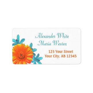 Orange & Teal Summer Flower Address Labels