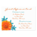 Orange & Teal Summer Flower Guest Reference Cards Business Card Templates
