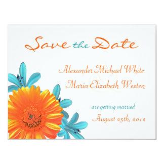Orange Teal Summer Flower Save The Date Card