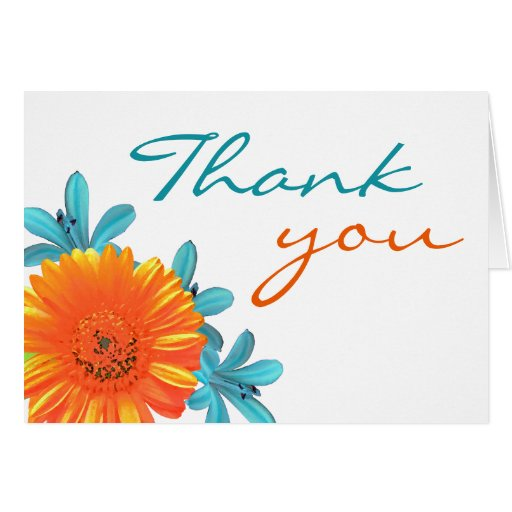 Orange & Teal Summer Flower Thank You Note Cards | Zazzle