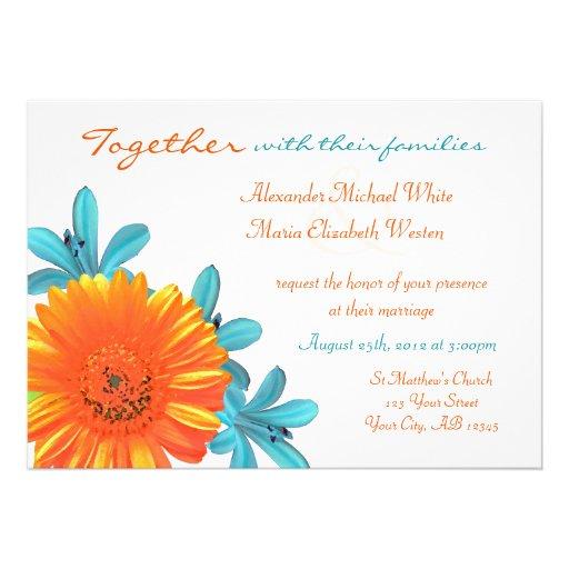 Orange Teal Summer Flower Wedding Invitations 5 X 7