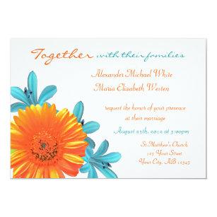 Orange Teal Summer Flower Wedding Invitations