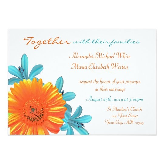 Orange Teal Summer Flower Wedding Invitations