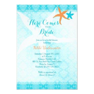 Beach Themed Orange Teal Summer Starfish Bridal Shower Card