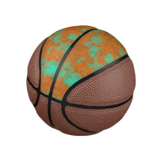 Orange Teal Texture Mini Basketball