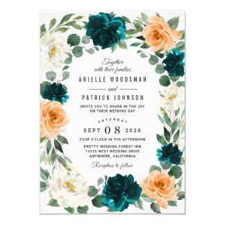 Orange Teal Turquoise Blue Elegant Floral Wedding Invitation