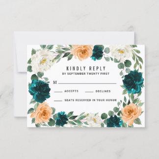 Orange Teal Turquoise Blue Wedding RSVP Cards