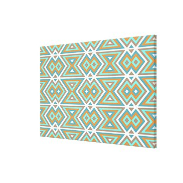 Aztec Themed Orange Teal Turquoise Green Tribal Mosaic Pattern Canvas Print