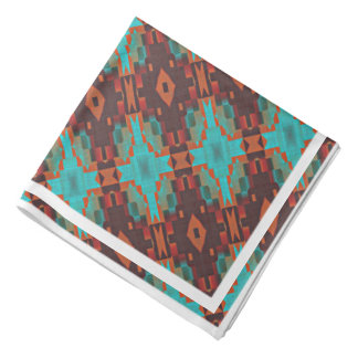 Orange Teal Turquoise Red Eclectic Ethnic Look Bandana