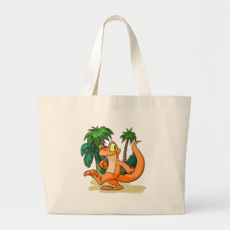 Orange Techo on a Mystery Island quest Large Tote Bag