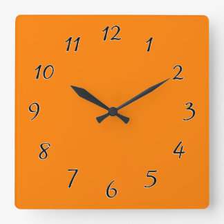 Orange template to personalized pictures and text square wall clock