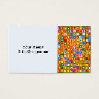 Orange 'Terracotta' Multicolored Tiles Pattern Business Card