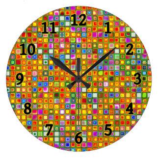 Orange 'Terracotta' Multicolored Tiles Pattern Large Clock