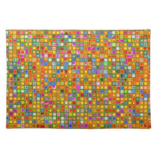 Orange 'Terracotta' Multicolored Tiles Pattern Place Mat