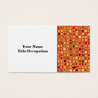 Orange 'Terracotta' Textured Mosaic Tiles Pattern Business Card
