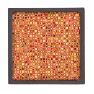 Orange 'Terracotta' Textured Mosaic Tiles Pattern Keepsake Box