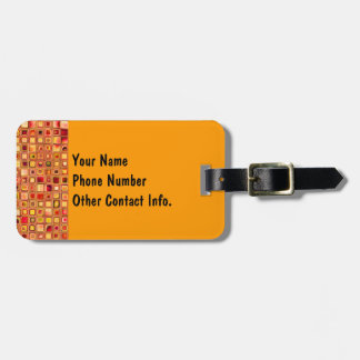Orange 'Terracotta' Textured Mosaic Tiles Pattern Tag For Luggage