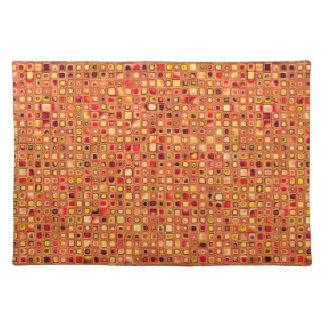 Orange 'Terracotta' Textured Mosaic Tiles Pattern Place Mats