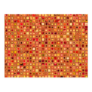 Orange 'Terracotta' Textured Mosaic Tiles Pattern Postcard