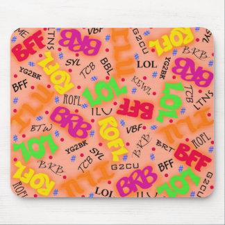 Orange Text Art Symbols Abbreviations Colorful Mouse Pad
