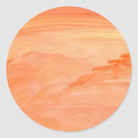Orange Texture Classic Round Sticker