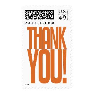 Orange Thank You! Postage Stamp