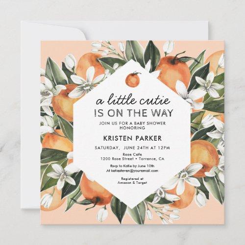 Orange Themed Little Cutie Baby Shower Invitation