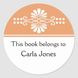 Orange This Book Belongs To Labels sticker