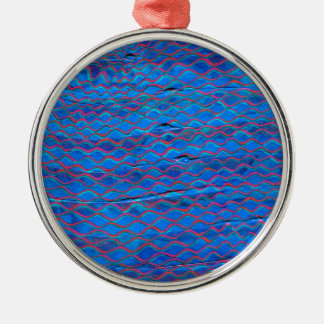 orange threads made blue without you metal ornament