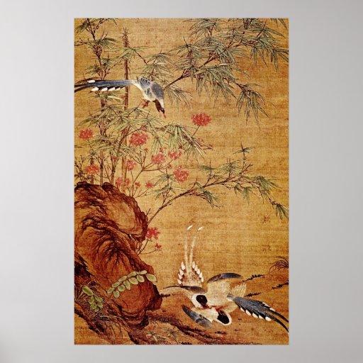 Orange Three Magpies and Spring Flowers, Pien Wen- Poster