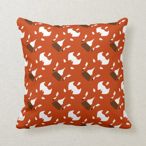 Brown Orange Throw Pillow : Orange Throw Pillow with White and Brown Accents Zazzle