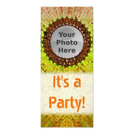 """Orange Tiedye Photo Invitations 4"""" X 9.25"""" Invitation Card"""