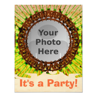 Orange Tiedye Photo Invitations