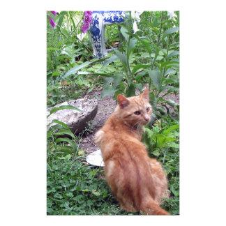 Orange Tiger Cat Garden Stationery Design