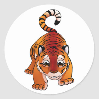 Orange Tiger Cub Classic Round Sticker