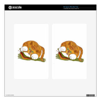 Orange Tiger Kitten and a Pacific NW Slug Skin For Kindle Fire