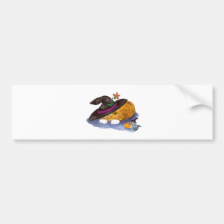 Orange Tiger Kitten and Mouse Don Witch Hats Bumper Sticker