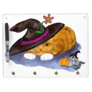 Orange Tiger Kitten and Mouse Don Witch Hats Dry Erase Board With Keychain Holder